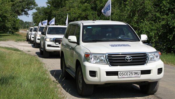 Patrole misji OBWE w miejscowości Sachanka w proklamowanej w trybie jednostronnym Donieckiej Republice Ludowej - Sputnik Polska