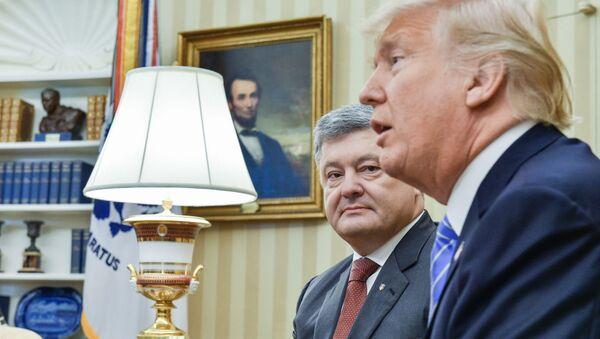 Prezydent Ukrainy Petro Poroszenko i prezydent USA Donald Trumpa w czasie spotkania w Waszyngtonie - Sputnik Polska