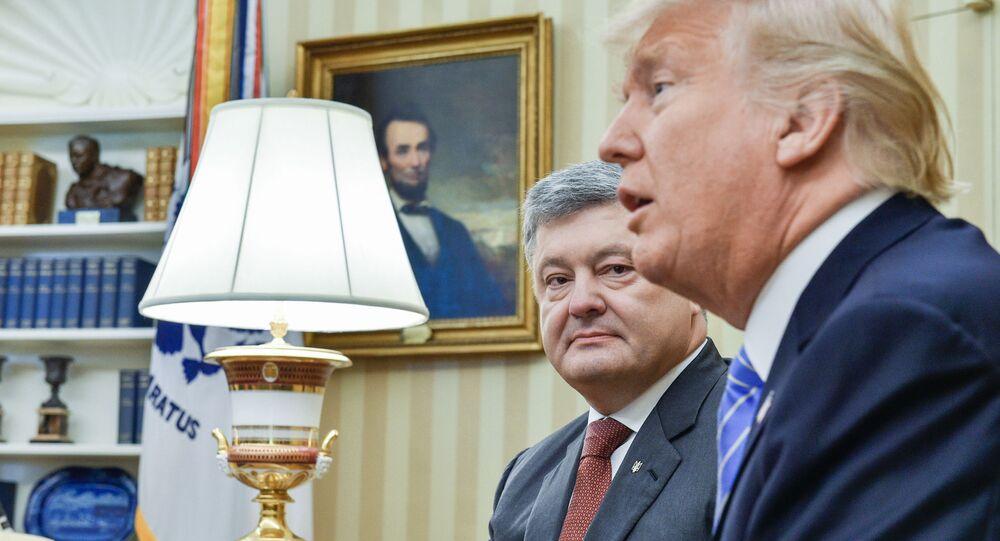 Prezydent Ukrainy Petro Poroszenko i prezydent USA Donald Trumpa w czasie spotkania w Waszyngtonie