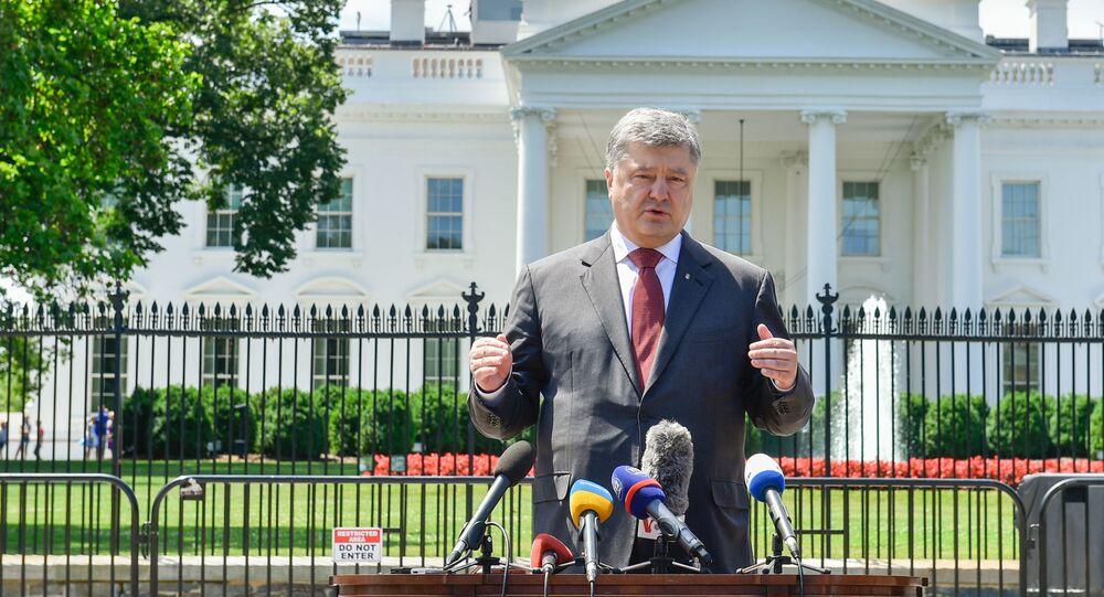 Wystąpienie prezydenta Ukrainy Petra Poroszenki przed dziennikarzami po spotkaniu z prezydentem USA Donaldem Trumpem
