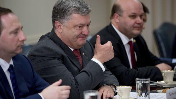 Prezydent Ukrainy Petro Poroszenko podczas spotkania z sekretarzem obrony USA Jamesem Mattisem w Pentagonie - Sputnik Polska