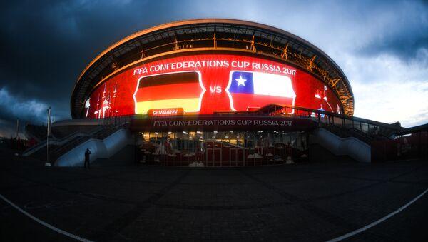 """Stadion """"Kazań Arena"""" w przeddzień meczu Pucharu Konfederacji 2017 w Piłce Nożnej Niemcy przeciwko Chile - Sputnik Polska"""
