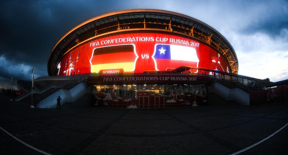 """Stadion """"Kazań Arena"""" w przeddzień meczu Pucharu Konfederacji 2017 w Piłce Nożnej Niemcy przeciwko Chile"""