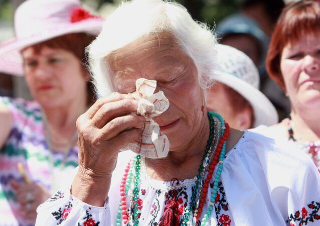 Protest przeciwko wojnie w Donbasie