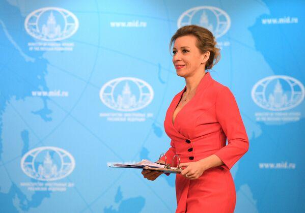 Rzeczniczka MSZ Federacji Rosyjskiej Maria Zacharowa w trakcie briefingu w sprawie bieżących kwestii polityki zagranicznej. - Sputnik Polska