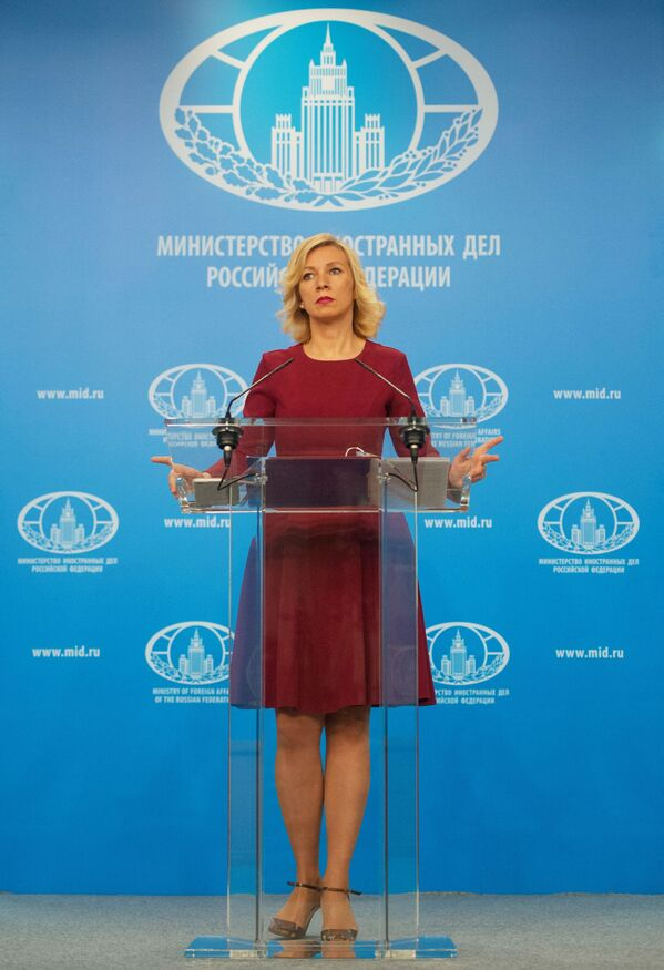 Rzeczniczka MSZ Federacji Rosyjskiej Maria Zacharowa w trakcie briefingu w Moskwie. - Sputnik Polska