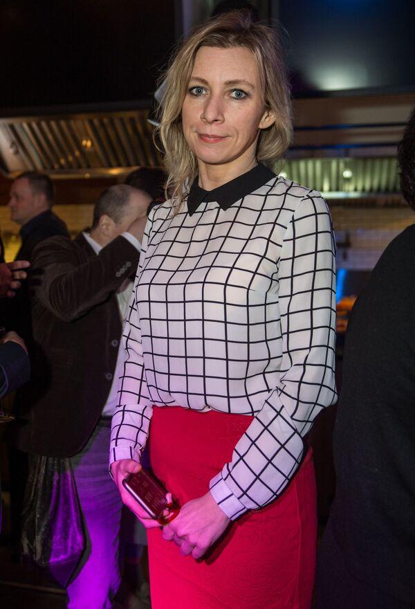 Rzeczniczka MSZ Federacji Rosyjskiej Maria Zacharowa na imprezie koktajlowej z okazji publikacji rankingu 100 najbardziej stylowych osób według czasopisma GQ w restauracji Valenok w Moskwie. - Sputnik Polska