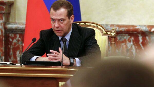 Premier Rosji Dmitrij Miedwiediew prowadzi spotkanie z członkami gabinetu ministrów Rosji - Sputnik Polska