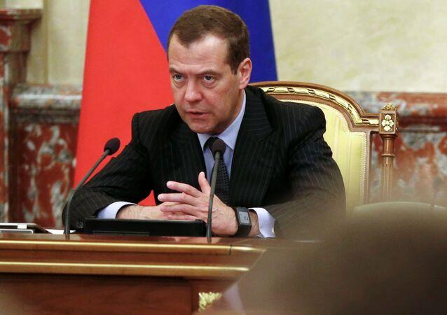 Premier Rosji Dmitrij Miedwiediew prowadzi spotkanie z członkami gabinetu ministrów Rosji