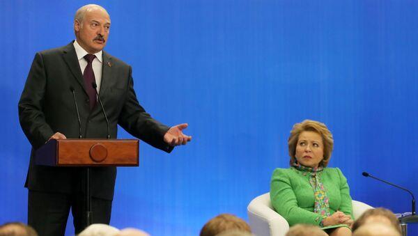 Prezydent Rosji Władimir Putin i prezydent Białorusi Alaksandr Łukaszenka biorą udział w IV Forum Regionów Rosji i Białorusi - Sputnik Polska