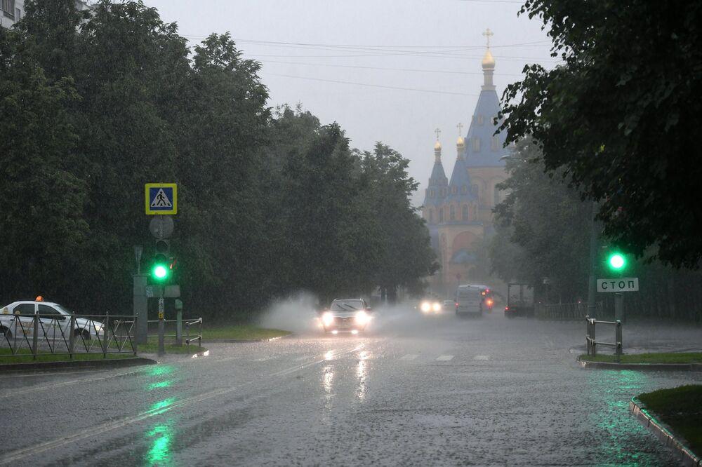 Podczas ulewy w Moskwie.