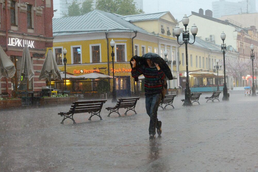 Przechodzień na Starym Arbacie w Moskwie.