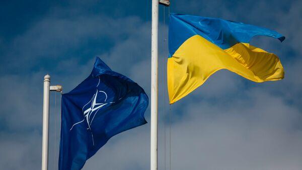 Flaga Ukrainy i flaga Organizacji Sojuszu Północnoatlatyckiego - Sputnik Polska