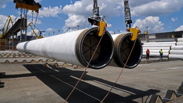 Dostawa rurociągów do miejsca przekładania gazociągu Turecki Strumień - Sputnik Polska