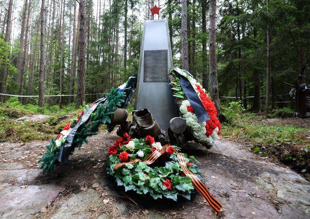 Pomnik poświęcony radzieckim żołnierzom, którzy zginali na wyspie podczas walk w 1943 roku.