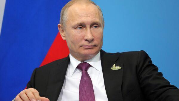 Prezydent Rosji Władimir Putin podczas konferencji prasowej po szczycie przywódców G20 w Hamburgu - Sputnik Polska