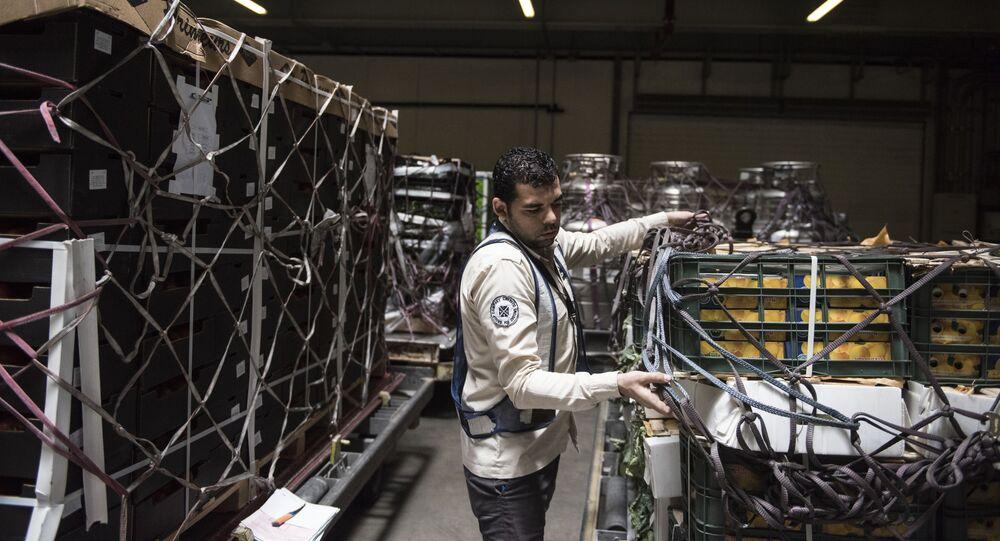 Pracownik w magazynie terminalu międzynarodowego lotniska Hamad w Dosze