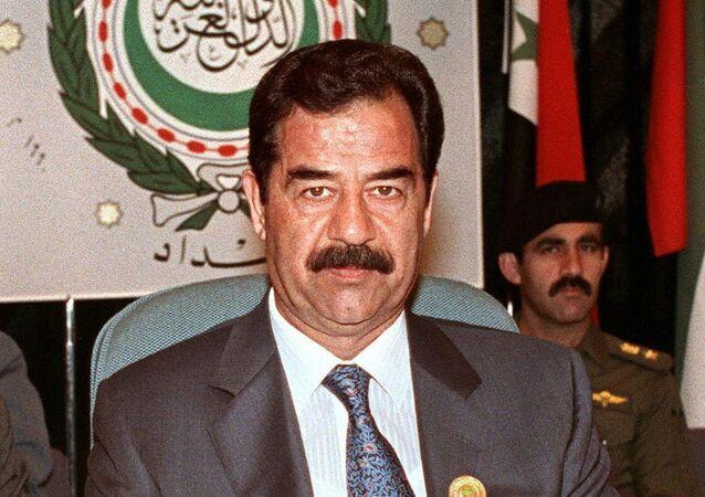 Saddam Hussein w Bagdadzie, 1990 r.