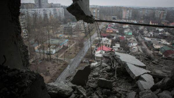 Skutki ostrzałów w Doniecku - Sputnik Polska