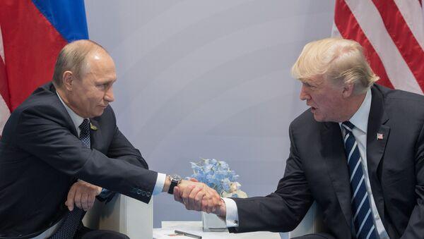 Prezydent Rosji Władimir Putin i prezydent USA Donald Trump podczas spotkania w kuluarach szczytu G20 w Hamburgu - Sputnik Polska