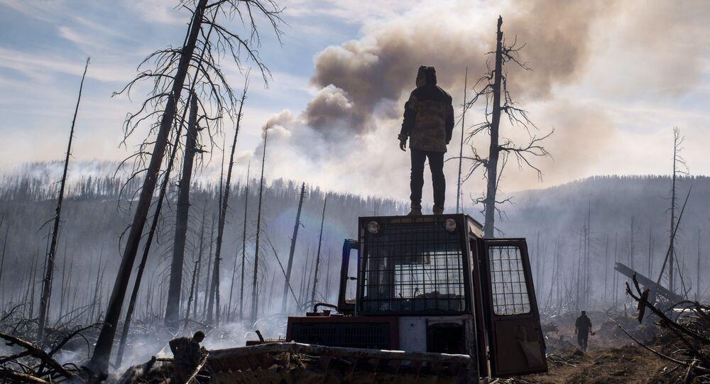 Pracownik agencji rządowej Awialesochrona Buriacji w czasie likwidowania pożaru w rejonu kabańskim