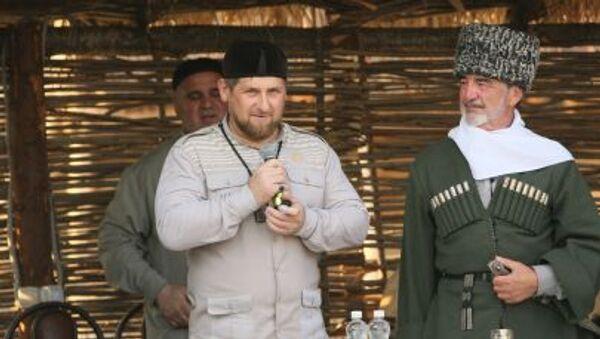 Przywódca Republiki Czeczeńskiej Ramzan Kadyrow na otwarciu muzeum etnograficznego w Czeczenii - Sputnik Polska