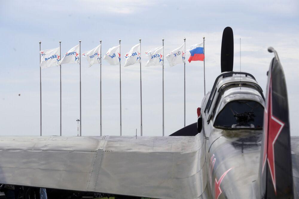 Samolot IL-2 (1942 r.) na poligonie podczas przygotowań do otwarcia Międzynarodowego Salonu Lotniczego i Kosmicznego MAKS-2017 w Żukowskim.