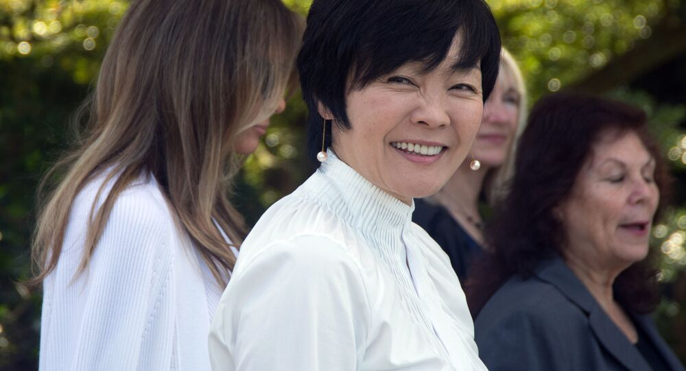 Żona premiera Japonii Akie Abe w czasie wizyty w USA
