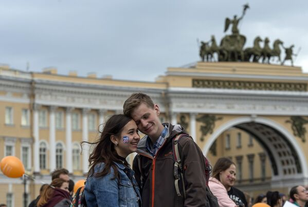 Kibice klubu hokejowego SKA Sankt Petersburg na Placu Pałacowym w Petersburgu. - Sputnik Polska
