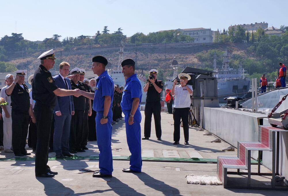 Ceremonia powitania nowego okrętu podwodnego Krasnodar w Sewastopolu