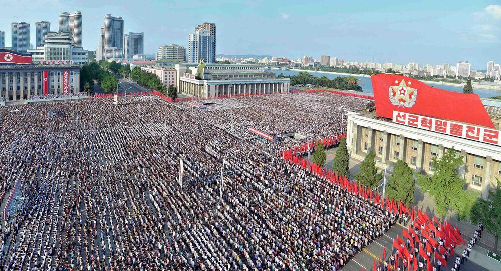 Miting przeciwko sankcjom ONZ w Pjongjangu
