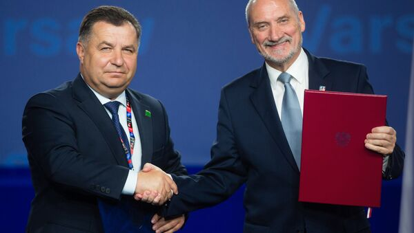 Minister obrony Ukrainy Stepan Połtorak i minister obrony Polski Antoni Macierewicz - Sputnik Polska
