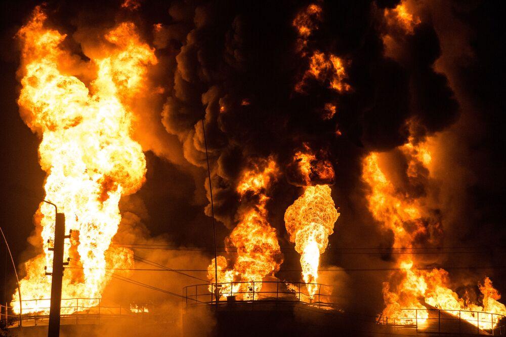 Pożar na bazie naftowej pod Kijowem