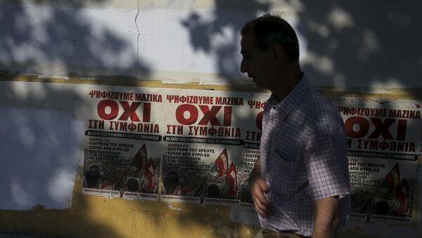 Ulice Aten z plakatami o referendum - Sputnik Polska