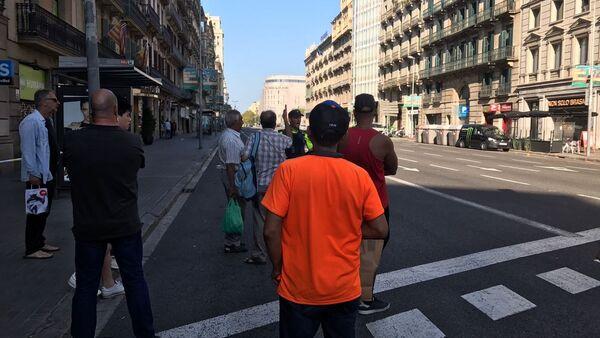Miejsce staranowania tłumu ludzi w Barcelonie 17 sierpnia 2017 roku. - Sputnik Polska