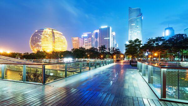 Wieżowce Hangzhou nocą - Sputnik Polska