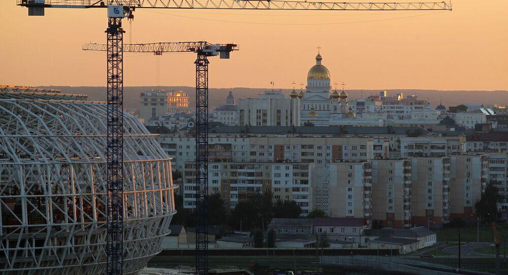 Stadion Mordowia Arena w Sarańsku w trakcie budowy