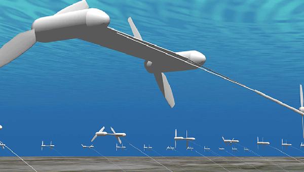 Graficzne przedstawienie instalacji służącej do wytwarzania energii elektrycznej z wykorzystaniem prądów oceanicznych w Japonii - Sputnik Polska