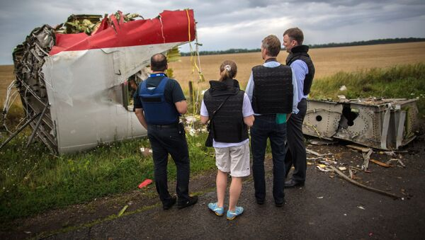 Boeing 777 linii lotniczych Malaysia Airlines, lecący z Amsterdamu do Kuala Lumpur, rozbił się 17 lipca 2014 roku nad Donbasem - Sputnik Polska