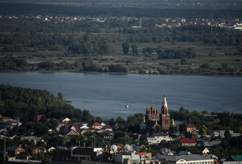 Widok na rzekę Wołgę i Samarę z wieżowca.
