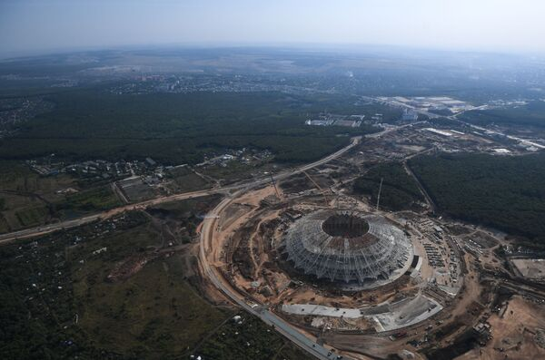 Widok z helikoptera na budowany stadion Samara Arena. - Sputnik Polska