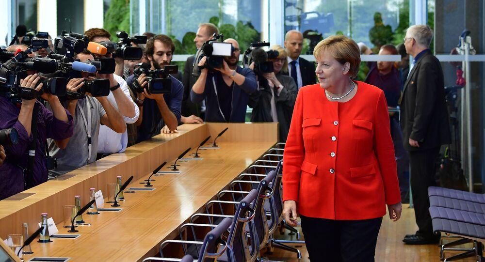 Kanclerz Niemiec Angela Merkal na corocznej konferencji prasowej