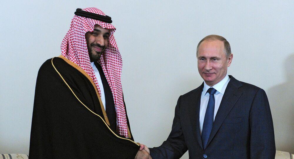Minister obrony Arabii Saudyjskiej Muhammad ibn Salman as-Saud z prezydentem Rosji Władimirem Putinem
