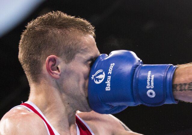 Mecz bokserski podczas I Igrzysk Europejskich w Baku