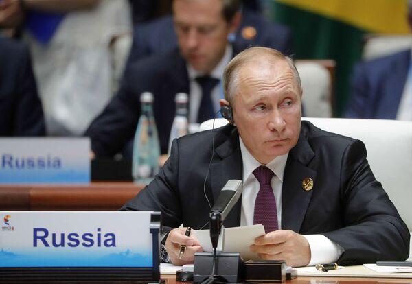 Prezydent Rosji Władimir Putin na spotkaniu przywódców BRICS - Sputnik Polska