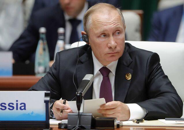 Prezydent Rosji Władimir Putin na spotkaniu przywódców BRICS