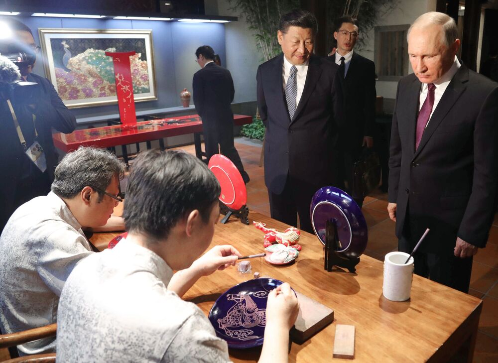 Władimir Putin i Xi Jinping na wystwaie dziedzictwa kulturowego Chin