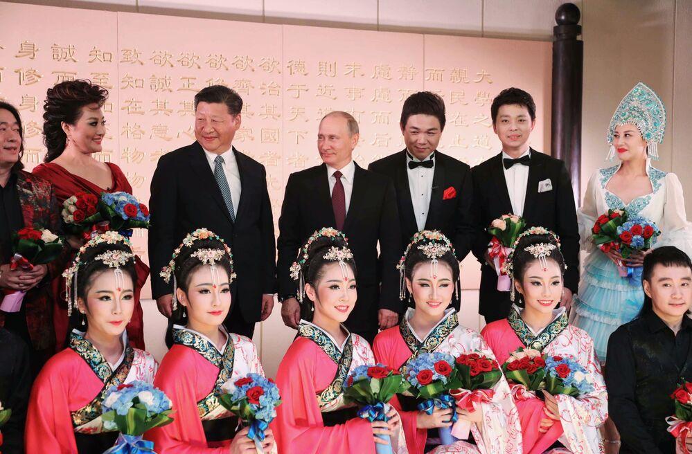 Władimir Putin i Xi Jinping na koncercie w Xiamenie