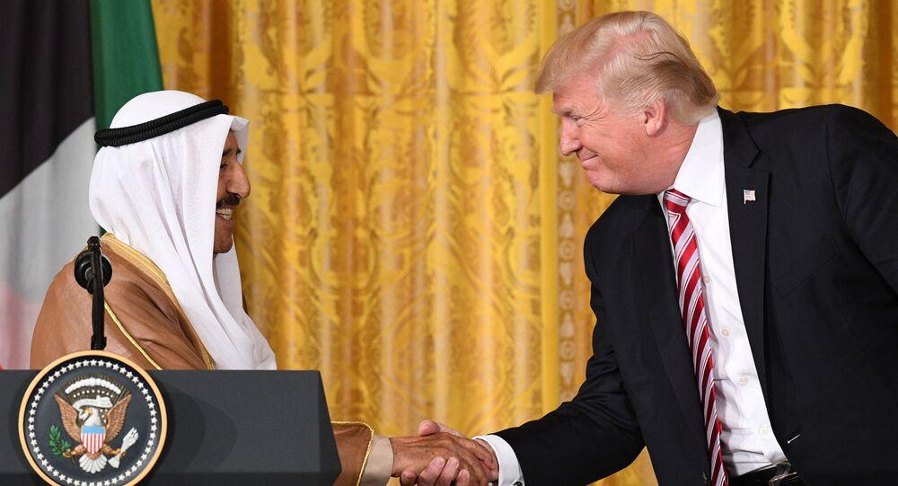 Emir Kuwejtu szejk Sabah al-Ahmad al-Dżabir as-Sabah i prezydent USA Donald Trump na spotkaniu w Waszyngtonie