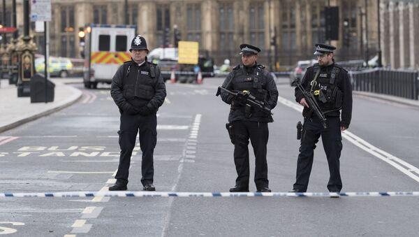 Funkcjonariusze policji niedaleko od budynku brytyjskiego parlamentu - Sputnik Polska